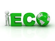 Eco concept, 3d man pointing finger at green word eco
