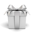 Gift box with silver ribbon bow on white background