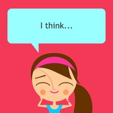 Cute girl with speech bubble on pink background (raster version)