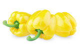 Three sweet yellow peppers isolated on white