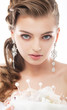 Young beautiful elegant bride isolated on white background