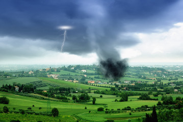 tornado in the valley in spring