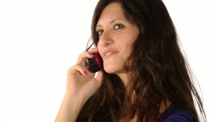 woman in current of telephone conversation