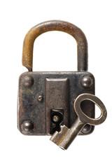 白背景に錆びた古い南京錠