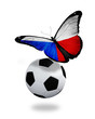 Concept - butterfly with Czech flag flying near the ball, like f