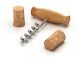 3d Corkscrew and two wine corks