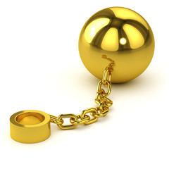 3d Golden Ball and Chain