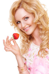 girl with strawberry
