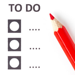Red pencil on a voting (to do) form