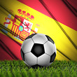 soccer ball on grass on National Flag. Country Spain