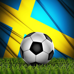 soccer ball on grass on National Flag. Country Sweden