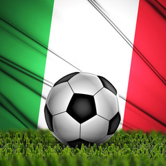 soccer ball on grass on National Flag. Country Italy