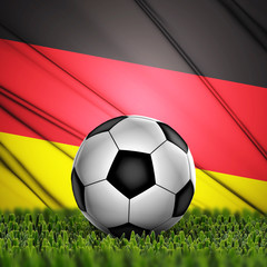soccer ball on grass on National Flag. Country Germany
