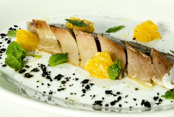 Mackerel with orange in the   lemon sauce