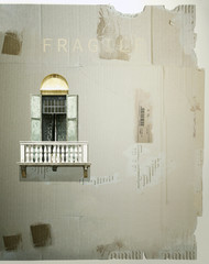 French window on cardboard