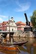 Leinwanddruck Bild - Alter Hafen und Kran in Lüneburg, Deutschland
