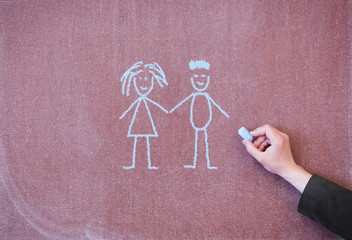 Man and woman drawn in chalk on blackboard