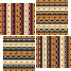 Coffee Dessert. Set of four seamless pattern.