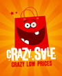 Crazy sale design template, with fun red bag