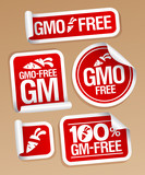 GMO free stickers set for healthy food poster