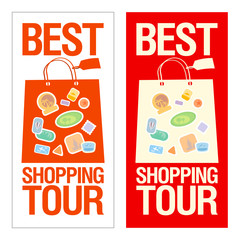 Best shopping tour banner with paper bags