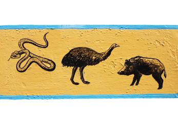 Figure snake, ostrich, wild boar