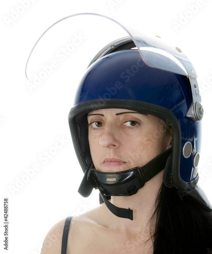 police woman in riot helmet