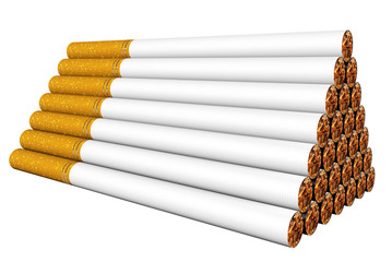 Stack of cigarettes on the white
