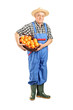 Full length portrait of a male farmer holding a basket full of o