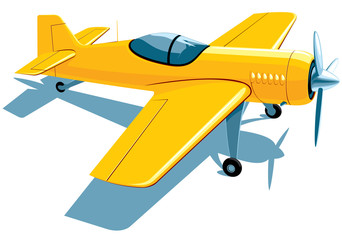 Vector isolated yellow sport airplane