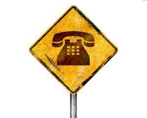 Señal amarilla teléfono
