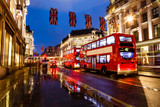 Fototapety Red Bus on the Rainy Street of London in the Night, United Kingd