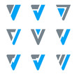 Abstract Business icon set. V, W, Triangle shapes.
