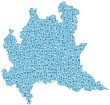 Map of Lombardia - Italy- in a mosaic of blue circles