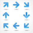 Vector glassy blue arrow web icon button with drop shadow.