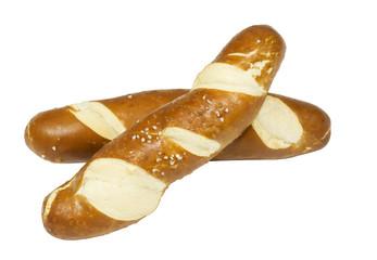 freshly baked salted pretzel sticks, isolated