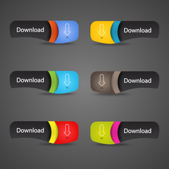Modern abstract download arrow icon header with shadow vector