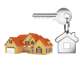 House and house key on white background