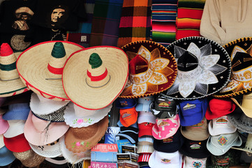 Mexican sombreros and cowboy hats