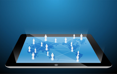 social network structure on touch-screen tablet-pc