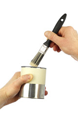Paintbrush and Paint Can Held by Hands