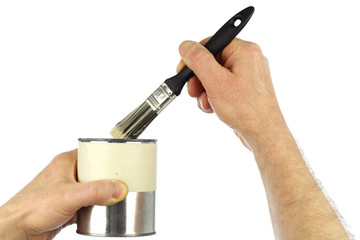 Hands Holding Paintbrush and Paint Can