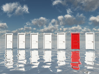 Sigle red door among several floating doors in surreal landscape