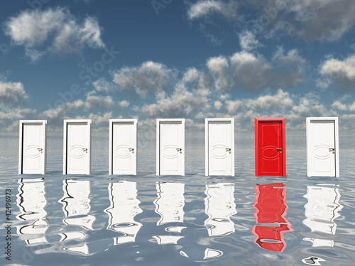 Sigle red door among several floating doors in surreal landscape