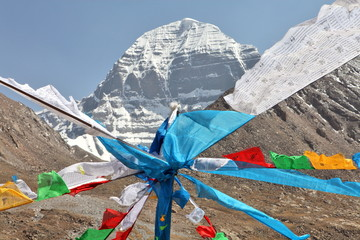 Mount Kailash in Tibet and Buddhist prayer flags