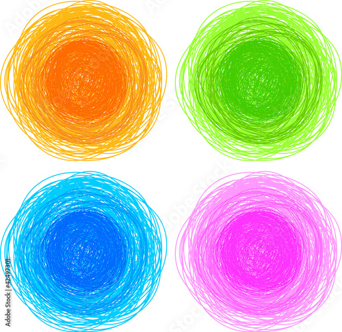 pencil colorful hand drawn circles, abstract vector illustration