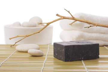 black soap on bamboo mat