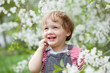 Happy toddler in spring