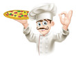 Cook holding a tasty pizza