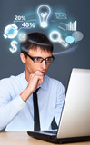 Adult business man working with his computer and different icons poster